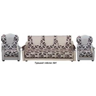 """Набор диван-кровать+2 кресла с деревянными подлокотниками """"Классик"""" - Гобелен турецкий"""